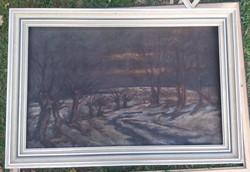 Rideg erdei út, olaj, vászon, 64x100, keret nélkül