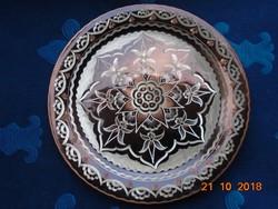 Antik kézműves,virágmintás ,ezüst és réz berakásos,cizellált Keleti réz falitál-24 cm