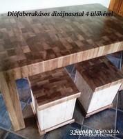 Diófaberakásoso dizájnasztal 4 ülőkével
