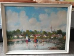 Kovács J. Szignós olaj vászon festmény eladó