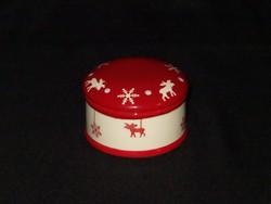 Karácsonyi kerámia ékszertartó - rénszarvas dekorral