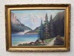 """""""Alpesi táj"""" keretezett olajfestmény! (Vitovszky)"""