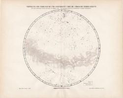Ködök és csillagcsomók eloszlása az északi égbolton, térkép 1896, eredeti, német, csillagászat, régi