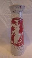 Zsűrizett retro iparművész kerámia váza 32,5 cm