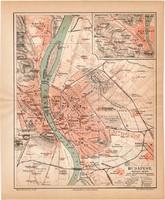 Budapest térkép 1886, német nyelvű, eredeti, Meyers lexikon, német és magyar nyelvű, régi, főváros