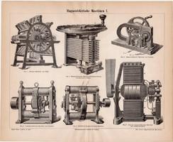 Elektromágneses gépek I., egyszínű nyomat 1888, német nyelvű, eredeti, eszköz, mágnes, elektromosság