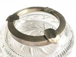 Ezüst peremes kristály hamutál / hamutartó