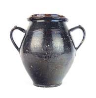 0T669 Antik barna mázas cserép fazék szilke 26 cm