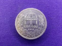 Gyönyörű ezüst 1 Korona 1915 KB