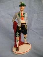 Század fordulós  antik fajansz majolika dresdem figura vitrin állapotban