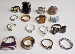 16 db. bizsu gyűrű, különböző méretek