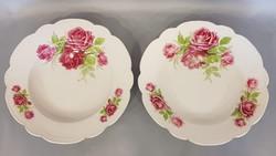2 db Régi Zsolnay gyöngykörös rózsás falitányér, tányér