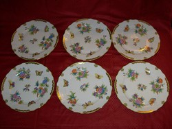 Herendi Viktória mintás lapos tányérok. 6 db. 26 cm átmérőjű.