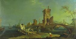 Olasz festő : XVIII. sz.-i mediterrán kikötő képe