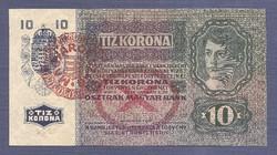 10 Korona 1915 Magyarország bélyegzéssel RITKA UNC