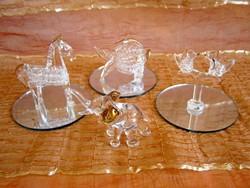 3 db nagyon szép üveg figura aranyozott festéssel tükör talpon: galambok, hal, paci / ló