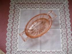 Rózsaszín üveg cukortartó