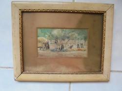 Szignált akvarell fellelt állapotában