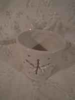 Mécsestartó - szárnyakkal - hófehér - porcelán - 9 x 7 cm - hibátlan