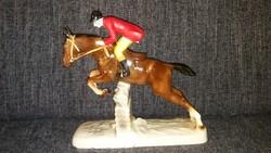 Hatalmas antik porcelán lovas figura