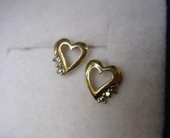 Tömör arany szív fülbevaló 2 brill gyémánt kővel