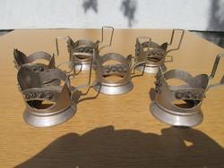 6 db. alpakka tea-szamovár pohár-tartó egyben - régi, szovjet, tisztított
