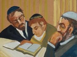 Schéner Mihály - Tanítás III. 60 x 80 cm olaj, farost