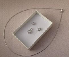 Ezüst szett -  medál, fülbevaló és ezüst nyaklánc - új variáció