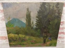 Nagybányai festmény háttérben a Kereszt heggyel 75x65cm EREDETI GARANCIÁVAL !!! 1930 körüli