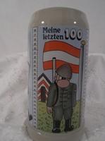 Kerámia korsó - Osztrák -  honvédségi - leszerelő - oldalán centivel 1 liter