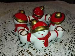 Karácsonyi  4 hóemberes , porcelán  körgyertyatartó.