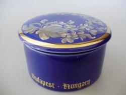 Ritka,kobalt kék,aranyozott,virágmintás bonbonier,Budapest felírattal