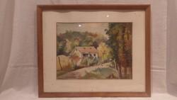Noeter E. akvarell festmény falusi részlet