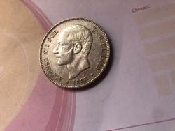 1883 Spanyol ezüst 5 peseta 25 gramm 0,900 szép db