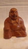 Nevető Buddha fafaragás szobor