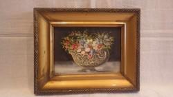 Szécsi olaj-farost régi virágcsendélet festmény