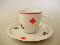 Ritka,Zsolnay póker mintás,franciakártyás kávéscsésze II.