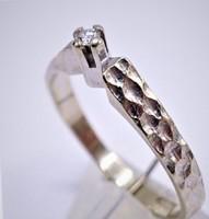 Skandináv Brill  Soliter fehér arany gyűrű.