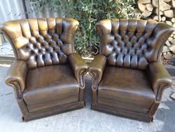 Antik chesterfield stílusú fotelek párban