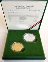 """1994. Arany 5000 forint """"Túzok"""" és 1992. Ezüst 200 forint """"fehér gólya"""" érme"""