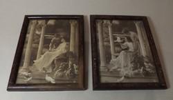 Antik romantikus fotók keretben  2 db