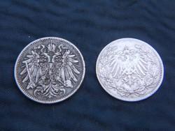2db német ezüst pénz.