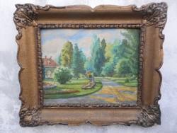Színes park.Antik festmény.