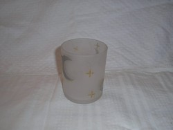 Glass - candlestick - thick milk glass - with golden moon - with stars 9 x 7, 5 cm - flawless