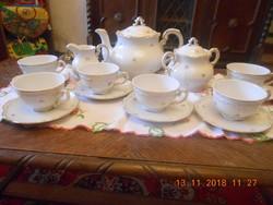 Zsolnay barokk, tollazott apró virágos teás készlet