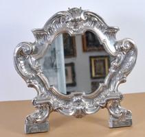 Barokk ezüst tükör, 18. század, restaurált