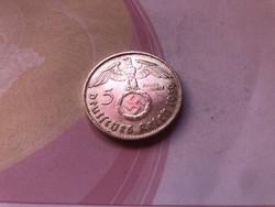 """1939""""B""""ezüst III.birodalom,horogkeresztes 5 márka gyönyörű darab,ritkább"""