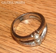 Antik ezüstözött bronz köves gyűrű