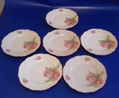 Antik Zsolnay rózsa mintás sütis tányér 6 db  soha nem használt ,RITKA !!!!!!!!!!!!!!!!!