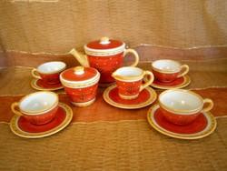 4 személyes kézzel festett kerámia/majolika kávés készlet